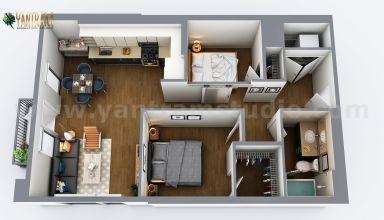 Conception de plan d'étage virtuel 3D de maison résidentielle de deux chambres par des sociétés de rendu architectural, Marseille - France