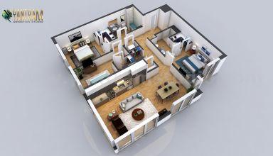 Obtenez cette disposition morden du plan d'étage virtuel résidentiel avec une maison de 2 chambres avec des plans d'étage complets et une zone de toiture. Le design est idéal pour ceux qui recherchent une petite maison familiale à petit budget. Il comprend 2 chambres, un salon, une salle de bains design, un coin repas et une cuisine comme illustré sur la photo. Ce qui est inclus dans le plan d'étage de conception de maison à 2 chambres par modélisation architecturale 3D
