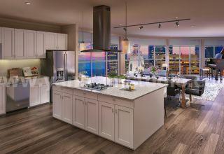 Concepteurs d'intérieur 3D de cuisine à aire ouverte avec salle à manger spacieuse par une société de rendu architectural, Nice - France