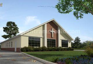 Petite église bâtiment architectural des services de rendu extérieur par studio de visualisation architecturale, Lille - France